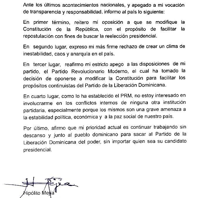 Hipólito Mejía reitera su rechazo a eventual reforma de la Constitución